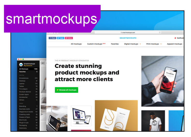 Smartmockup - is a paid mock-up generator resource one can use